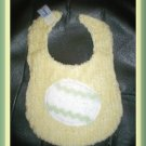 Boutique Yellow Chenille and Flannel Decorated Easter Egg Baby Bib