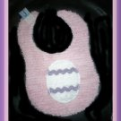 Boutique Pink Chenille and Flannel Decorated Easter Egg Baby Bib