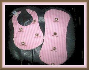 Boutique Baby Shower Gift Set in Pink John Deere Cotton & Chenille 1 Bib & 1 Burp