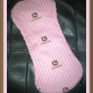 Boutique Pink John Deere and Chenille Baby Burp Pad Cloth