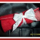 Boutique Red Gingham & Chenille Diaper Bag Changing Pad
