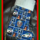 Handmade Christmas Stocking Policeman Police Car with Chenille FREE US AND CANADA SHIPPING