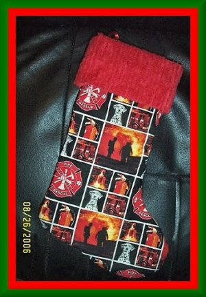 Handmade Christmas Stocking Fireman Fire Fighter with Chenille FREE US AND CANADA SHIPPING