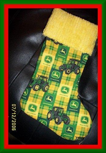 Yellow & Green John Deere & Chenille Handmade Christmas Stocking FREE US & CANADA SHIPPING
