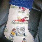 Handmade Christmas Stocking ~ Retro Soccer Kids & Balls FREE US AND CANADA SHIPPING