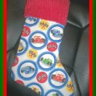 Handmade Christmas Stocking ~ Race Cars FREE US AND CANADA SHIPPING