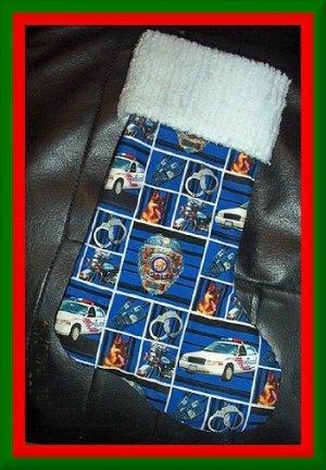 Handmade Christmas Stocking ~ Police Policeman Hero FREE US AND CANADA SHIPPING