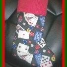 Handmade Christmas Stocking ~ Poker Texas Hold 'Em Card FREE US AND CANADA SHIPPING