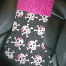 Handmade Christmas Stocking ~ Pink Skulls on Black FREE US AND CANADA SHIPPING