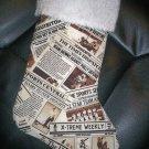 Handmade Christmas Stocking ~ Newspaper Newsprint FREE US AND CANADA SHIPPING