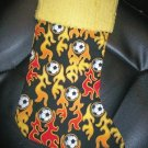 Handmade Christmas Stocking ~ Flaming Soccer Balls FREE US AND CANADA SHIPPING