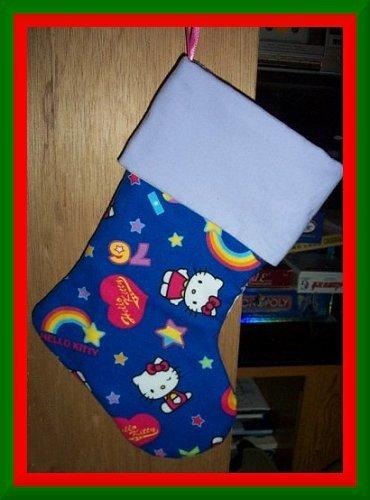 Handmade Christmas Stocking ~ Blue Hello Kitty FREE US AND CANADA SHIPPING