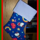Handmade Christmas Stocking ~ Blue Hello Kitty FREE US AND CANADA SHIPPING