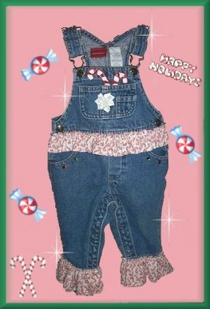 Boutique Christmas Candy Cane Princess Overalls 6-9 mth FREE US AND CANADA SHIPPING
