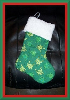 Handmade Christmas Stocking ~ Leapin' Frogs FREE US AND CANADA SHIPPING