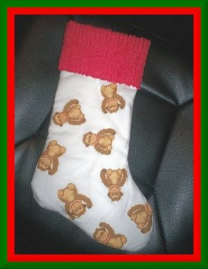 Handmade Christmas Stocking ~ Funky Monkey Faces BCMM