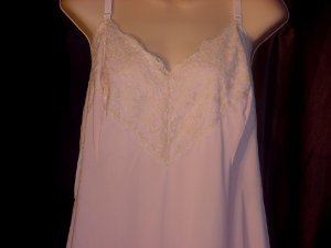 Lane Bryant Vintage Full Slip Bust 50 Large Pink and Ecru whole slip dress