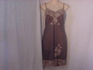 Vintage slip Gunmetal Green Tan Lace Whole Slip Dress Full slip Dress Bust 34  (S L A)
