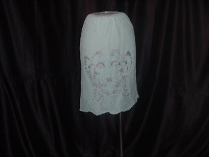 Blue Lace Charmode Vintage half slip 2 layer Applique Robin's Egg Blue slip (S L A)