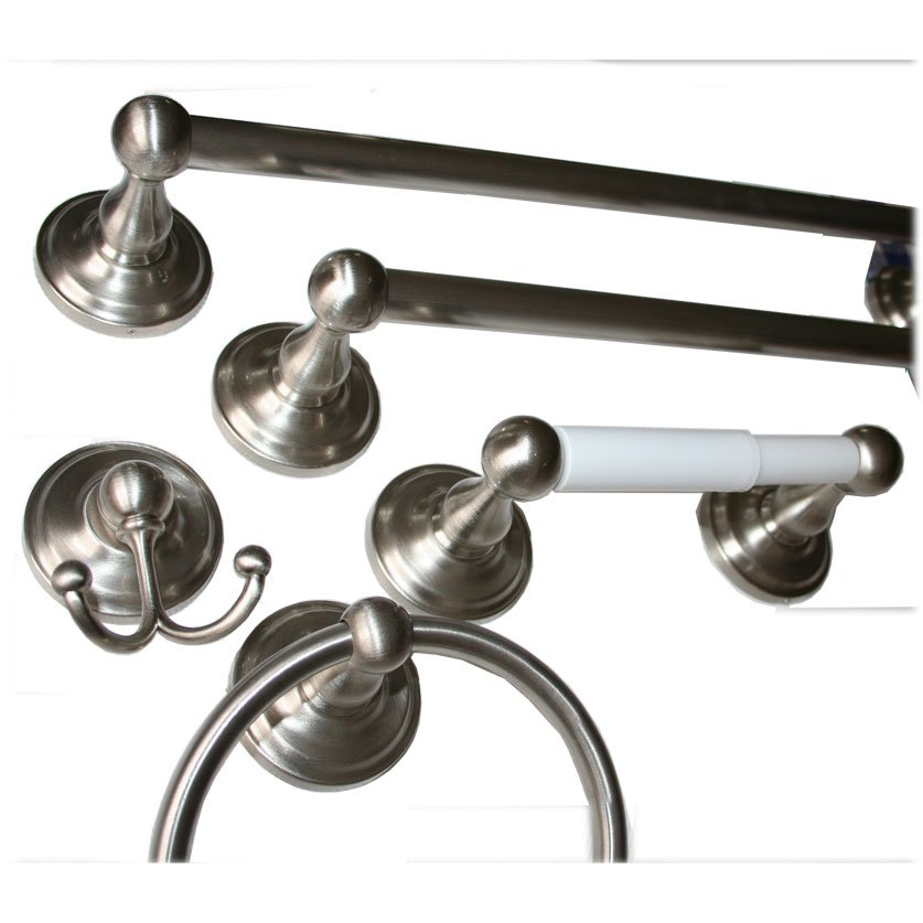 "Towel Bar 24"" Satin Nickel 5-Piece Bath Accessory Set With 7"" Towel Ring, Paper Holder, Robe Hook"