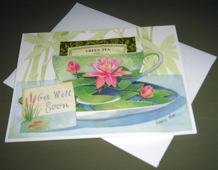 TEA CUP GREETING CARD GET WELL SOON