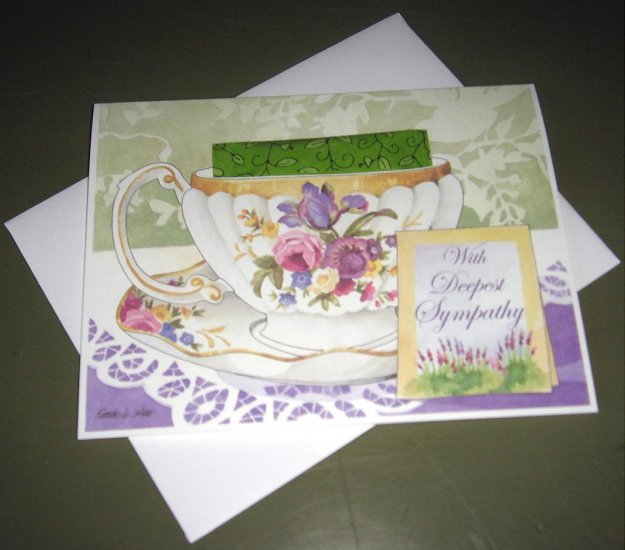 TEA CUP GREETING CARD WITH DEEPEST SYMPATHY