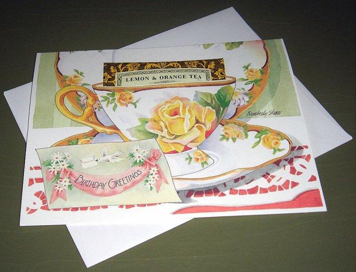 TEA CUP GREETING CARD BIRTHDAY GREETINGS