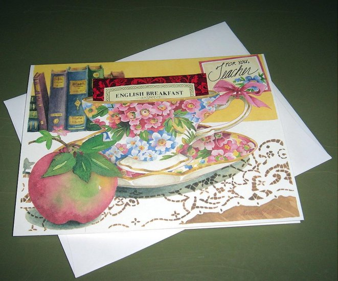 New TEA CUP GREETING CARD FOR YOU TEACHER
