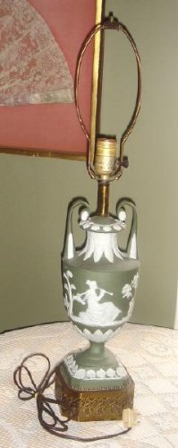 Sage Green & White Table Lamp Wedgwood Style