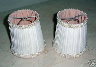 2 LOVELY VINTAGE SILK LAMP SHADES, PLEATED, SHIRRED