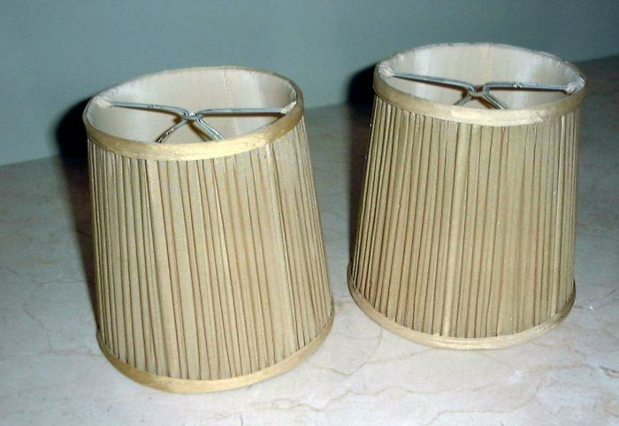 HANDSOME PAIR VINTAGE SILK SHADES, PRETTY HONEY COLOR