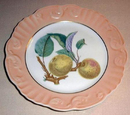 """Summer Fruit Porcelain 8"""" Plate Vista Alegre Mottahedeh APPLE Portugal"""