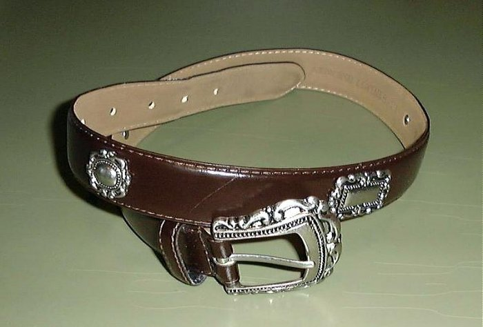 SUPER BROWN LADIES BELT With SILVER BUCKLE & MEDALLIONS #5