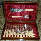 Ornately Engraved 26 Pc Fish Set Wood Boxed England