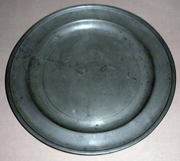 "Antique English Pewter Charger 13 1/2"" ca 1730-1755"