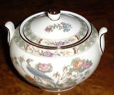 KUTANI CRANE Sugar Bowl & Lid Wedgwood Porcelain China