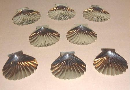 8 950 Sterling Japanese Shell Butter Pats KUYEDA Silver
