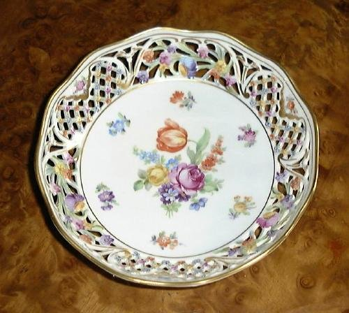 CHATEAU Dresden Flowers Schumann Germany Pierced Bowl
