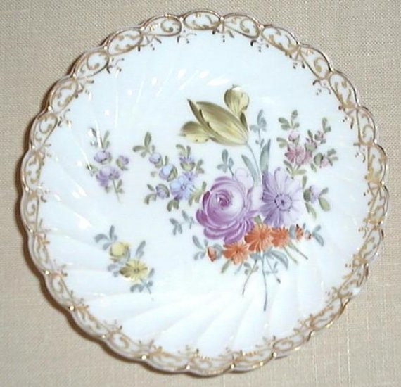 Vintage hand painted Dresden floral pin tray, #3