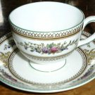 Wedgwood Columbia Enameled Footed Cup & Saucer Leigh Shape