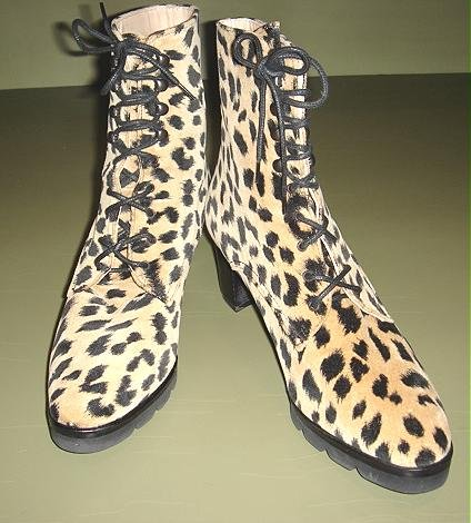 VELVETEEN LEOPARD ANKLE BOOT, ITALY by d'Ro-Too-7AA-$120