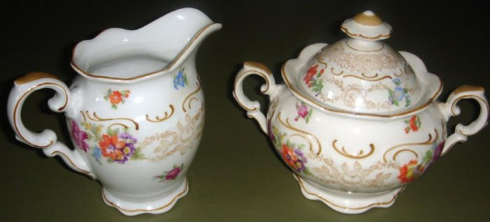 Dresden Flowers Sugar & Creamer by Schumann Bavaria Germany