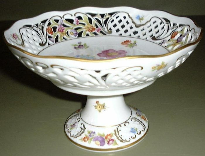 Vintage Dresden Flowers Compote, Schumann, Arzberg, Germany