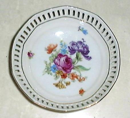 "4"" DRESDEN FLOWERS Pierced Dish by Schumann Bavaria Germany #1"