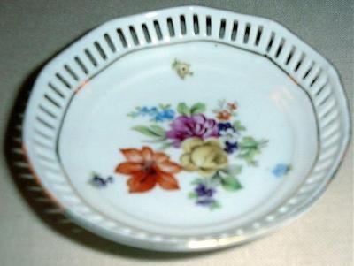 "4"" DRESDEN FLOWERS Pierced Dish Schumann Bavaria Germany #4"