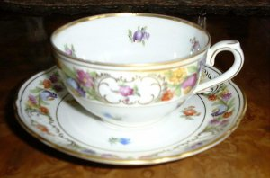 Cup & Saucer EMPRESS DRESDEN FLOWERS by Schumann Bavaria Germany