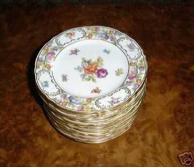 EMPRESS DRESDEN FLOWERS Scalloped Bread & Butter Plate by Schumann