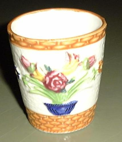 POTTERY VASE BASKETWEAVE with BOWL OF FLOWERS PATTERN