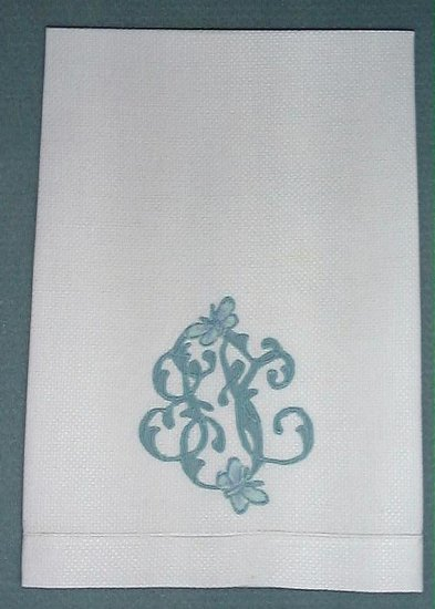 "WHITE LINEN TOWEL, EXQUISITE ""F"" MONOGRAM, BUTTERFLIES"