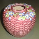 Fabulous! ORIENTAL Rose Majolica Pottery Ginger Jar, Basketweave, Flowers